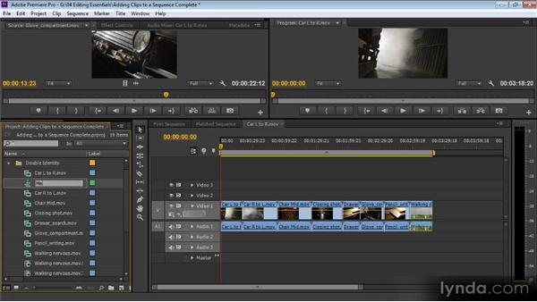 Adding clips to a sequence: Up and Running with Premiere Pro CS6