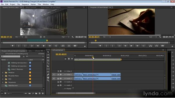 The Lift and Extract buttons: Up and Running with Premiere Pro CS6