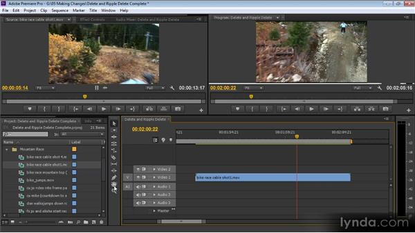 Deleting and ripple deleting: Up and Running with Premiere Pro CS6