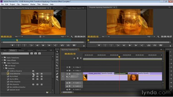 Adding a transition effect between two clips: Up and Running with Premiere Pro CS6