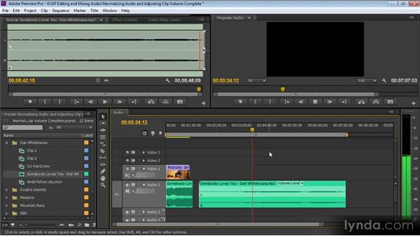 Normalizing audio and adjusting clip volume on the Timeline: Up and Running with Premiere Pro CS6