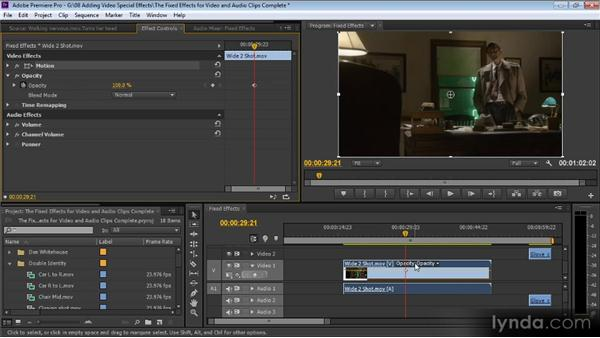 Fixed effects for video and audio clips: Up and Running with Premiere Pro CS6