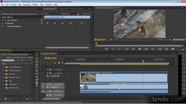 Keyframing opacity on the Timeline: Up and Running with Premiere Pro CS6