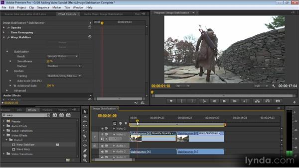 Image stabilization: Up and Running with Premiere Pro CS6