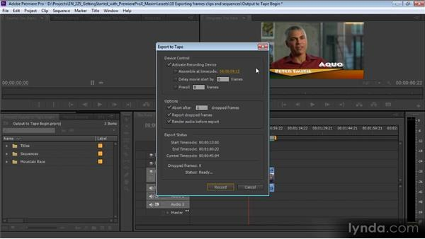 Outputting to tape: Up and Running with Premiere Pro CS6