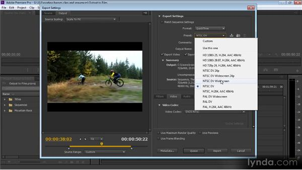 Outputting to files: Up and Running with Premiere Pro CS6