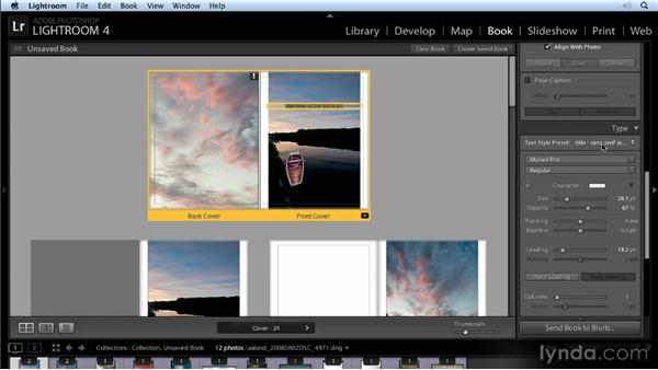 Laying out your book: Lightroom 4 New Features Overview