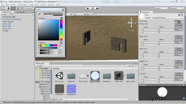Editing the skybox layout and properties: Learn to Texture for Games