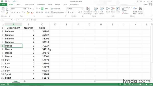 Formatting data for use in a PivotTable: Excel 2013: Pivot Tables in Depth