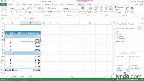 Pivoting a PivotTable: Excel 2013: Pivot Tables in Depth