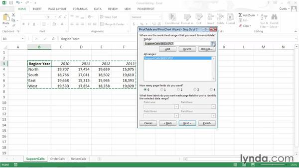 Consolidating data from multiple sources: Excel 2013: Pivot Tables in Depth