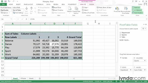 Managing PivotTables: Excel 2013: Pivot Tables in Depth