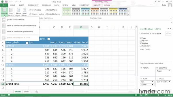 Managing subtotals and grand totals: Excel 2013: Pivot Tables in Depth