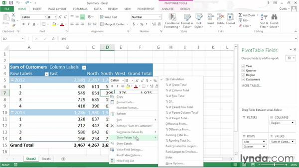 Changing the data field summary operation: Excel 2013: Pivot Tables in Depth