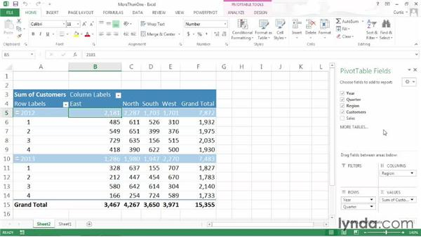 Summarizing more than one data field: Excel 2013: Pivot Tables in Depth