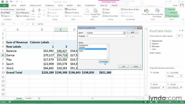 Creating a calculated field: Excel 2013: Pivot Tables in Depth