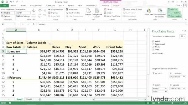 Grouping PivotTable fields: Excel 2013: Pivot Tables in Depth