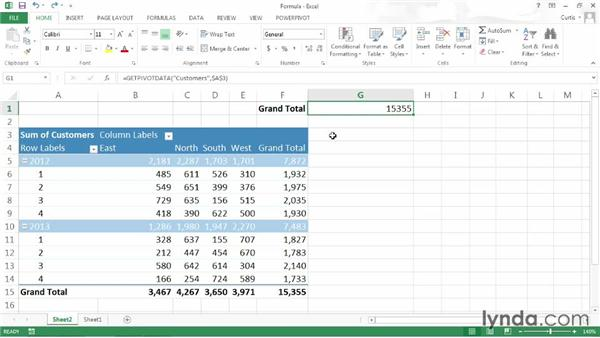 Using PivotTable data in a formula: Excel 2013: Pivot Tables in Depth