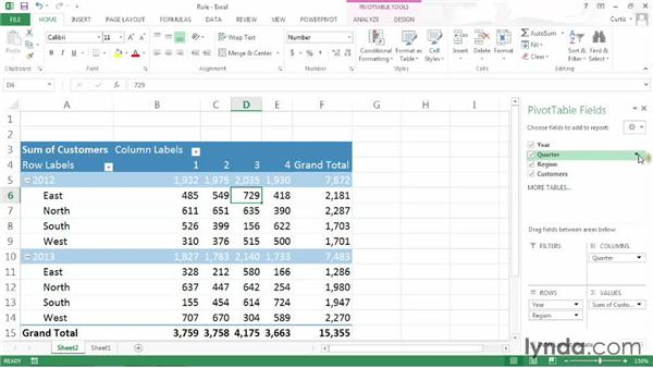 Filtering a PivotTable by rule: Excel 2013: Pivot Tables in Depth