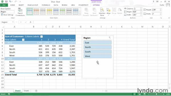 Filtering a PivotTable using slicers: Excel 2013: Pivot Tables in Depth
