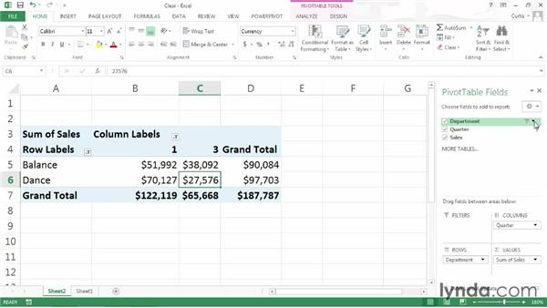 Clearing and reapplying PivotTable filters: Excel 2013: Pivot Tables in Depth
