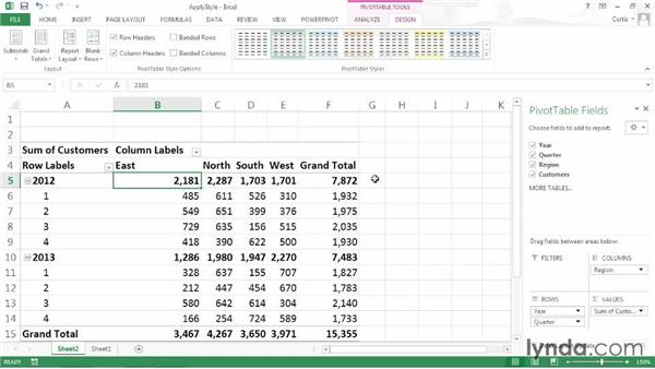 Applying a PivotTable style: Excel 2013: Pivot Tables in Depth
