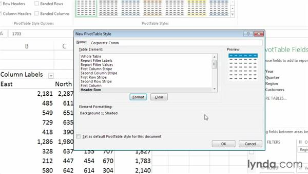 Creating a PivotTable style: Excel 2013: Pivot Tables in Depth