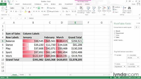 Formatting cells using data bars: Excel 2013: Pivot Tables in Depth