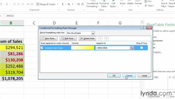 Deleting a conditional formatting rule: Excel 2013: Pivot Tables in Depth