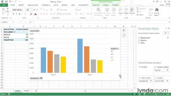Filtering a PivotChart: Excel 2013: Pivot Tables in Depth