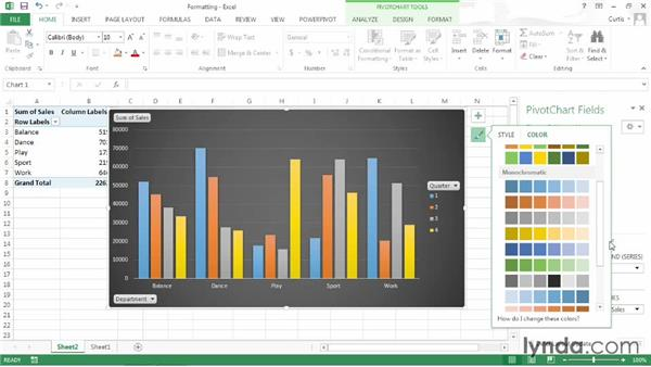 Formatting a PivotChart: Excel 2013: Pivot Tables in Depth