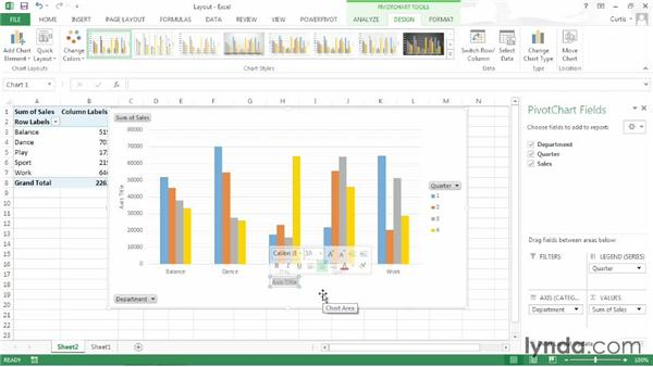 Changing a PivotChart's layout: Excel 2013: Pivot Tables in Depth