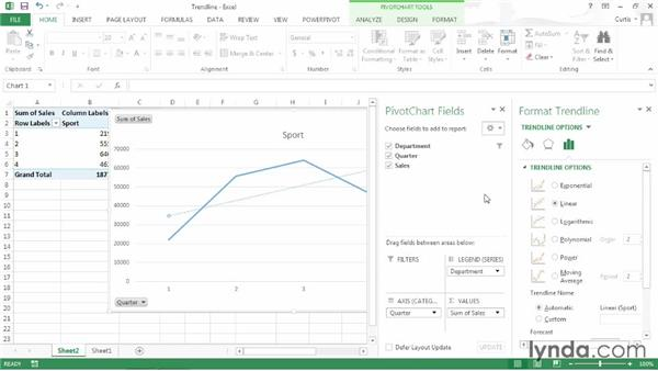 Adding a trendline to a PivotChart: Excel 2013: Pivot Tables in Depth