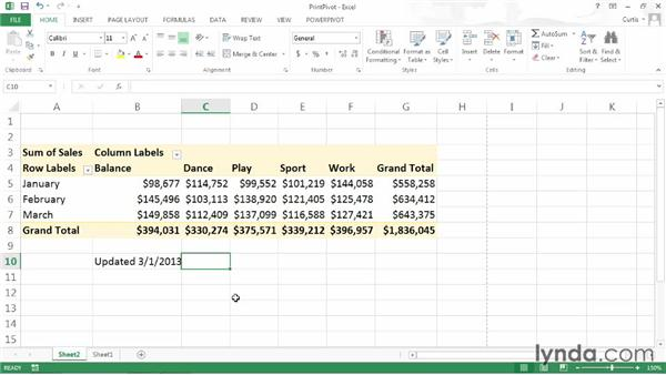 Printing a PivotTable: Excel 2013: Pivot Tables in Depth