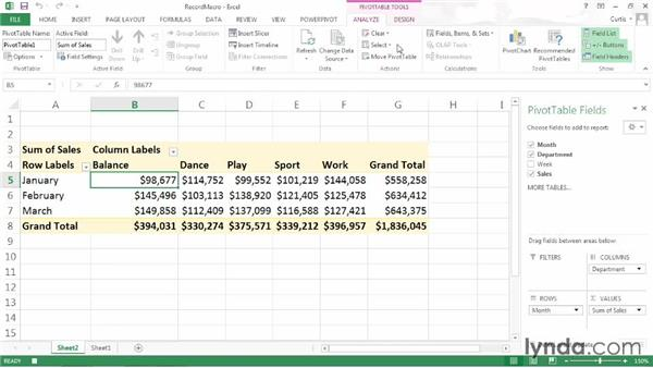 Recording and reviewing an Excel macro: Excel 2013: Pivot Tables in Depth