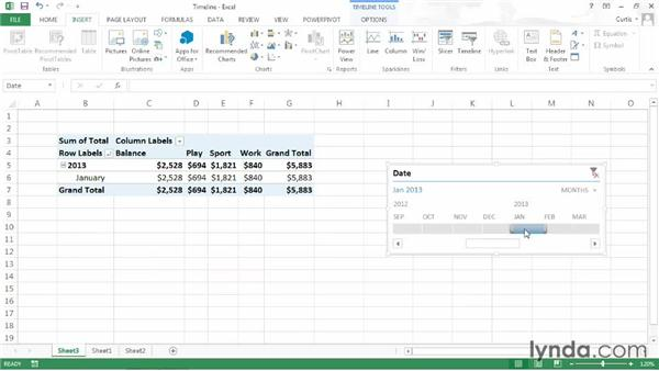 Filtering data using a timeline: Excel 2013: Pivot Tables in Depth