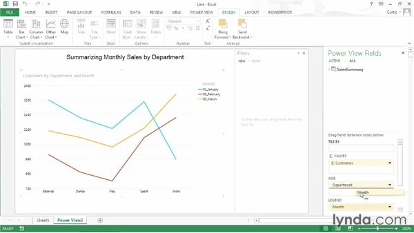 Creating a line chart: Excel 2013: Pivot Tables in Depth