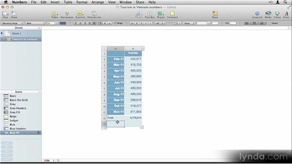Inserting tables and charts: Up and Running with iBooks Author