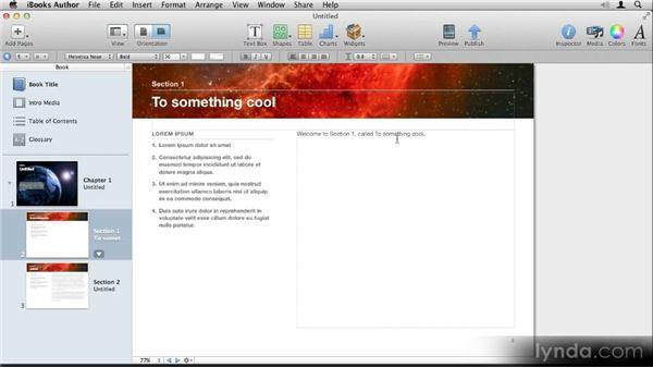 Inserting auto-updating text: Up and Running with iBooks Author