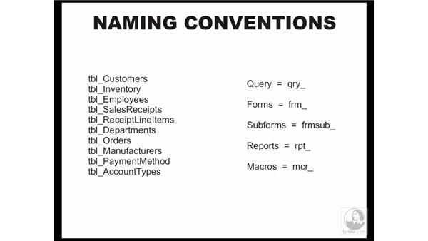 naming conventions: Access 2003 Essential Training