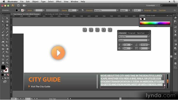 Working with text: Up and Running with Illustrator CS6