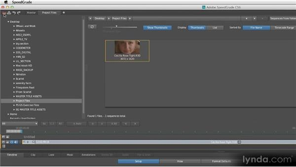 Importing footage and opening files: Getting Started with SpeedGrade CS6