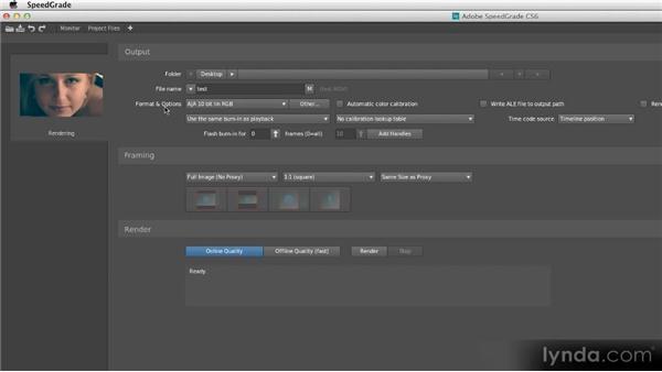 Rendering from SpeedGrade: Getting Started with SpeedGrade CS6