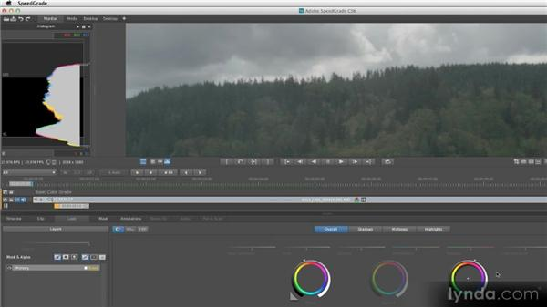Performing a basic color grade: Getting Started with SpeedGrade CS6