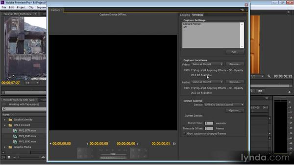 Working with tape: Premiere Pro CS6 for Avid and Final Cut Pro Editors