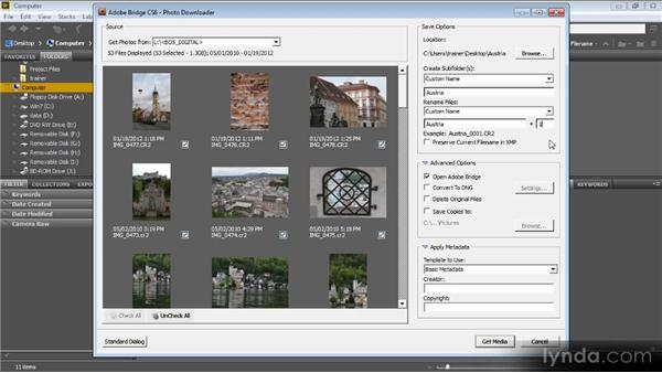 Downloading images: Bridge CS6 for Photographers