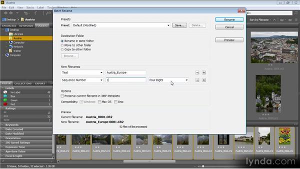 Batch renaming: Bridge CS6 for Photographers
