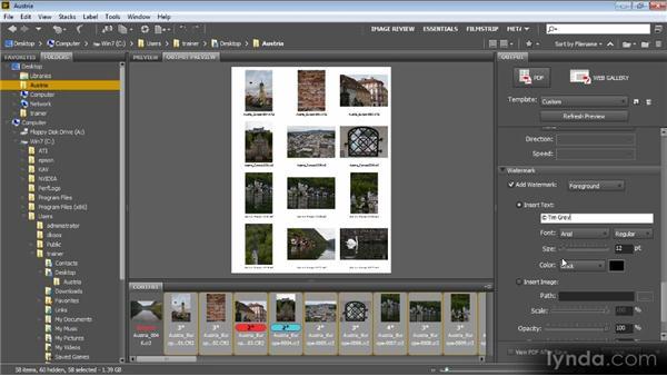 Outputing to web or PDF: Bridge CS6 for Photographers