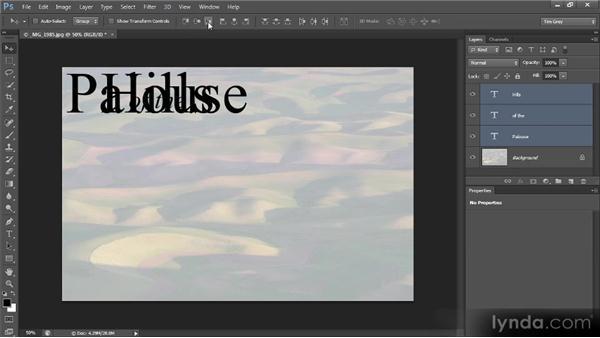 Aligning multiple text layers: Photoshop CS6 Text Workshop