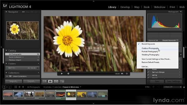 Adding keywords: Lightroom 4 Video Workshop